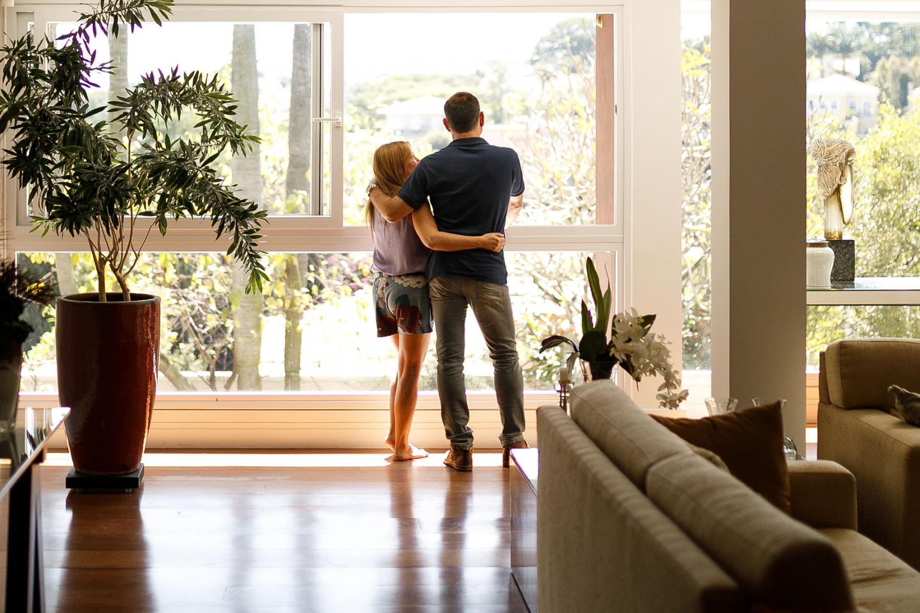 solar couple looking outside